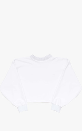 Relaxed Fit Sweater With Long Puff Sleeves in White by BOO