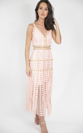 SORAYA Crochet Sleeveless Maxi Dress with Studded Detail in Pink by House of Gigi