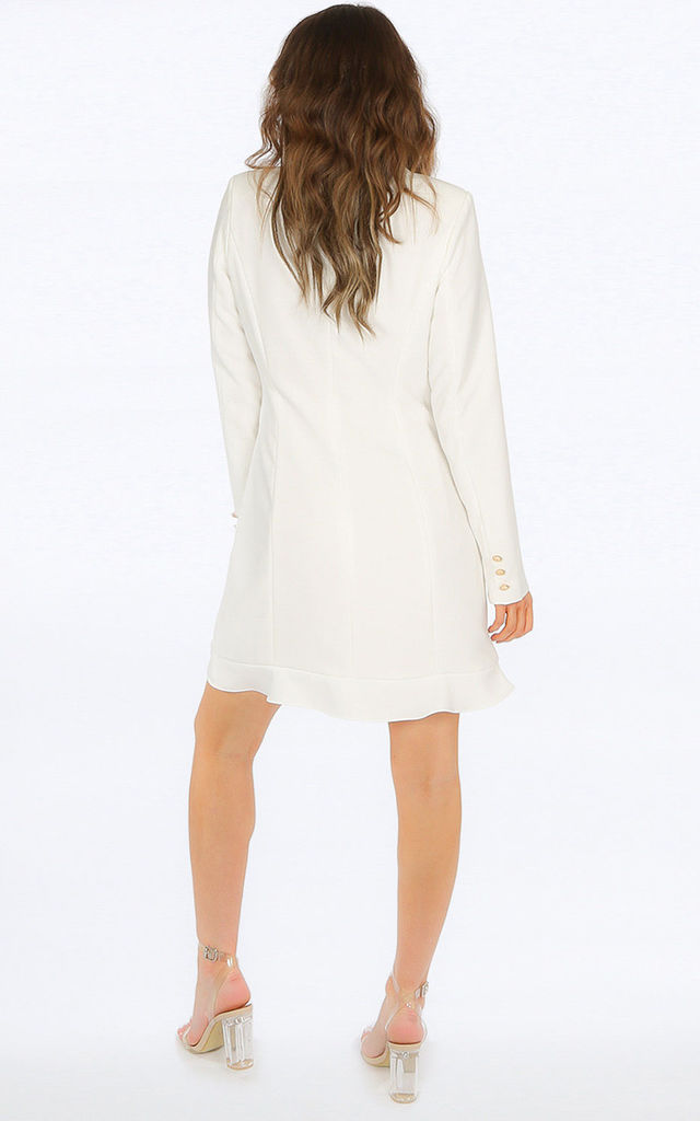 White Frill Edge Blazer Dress by Dressed In Lucy