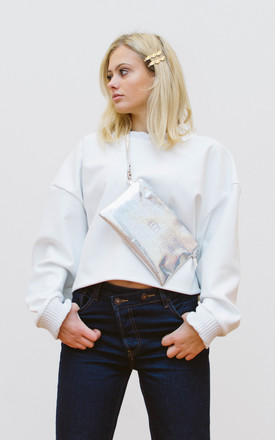 Faux Leather Bum Bag Fanny pack in Silver Hologram by BOO