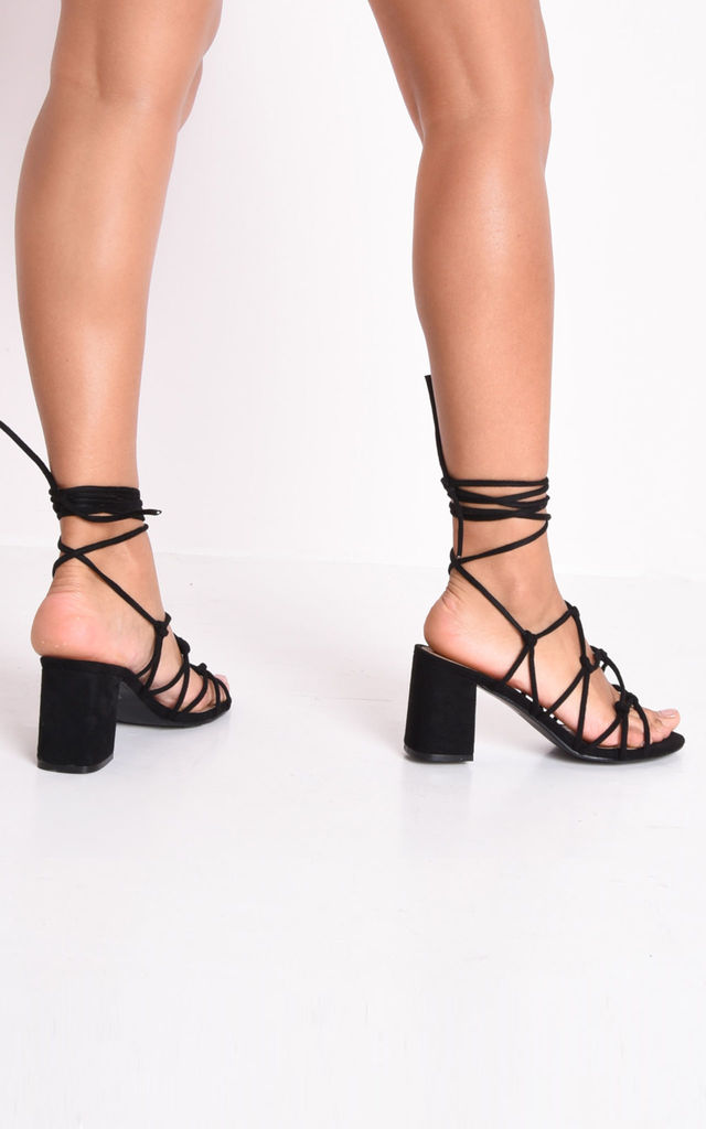 Knotted strappy block heel lace up sandals black by LILY LULU FASHION