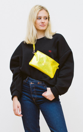 Faux Leather Fannypack Bum Bag in Holographic Star Yellow by BOO