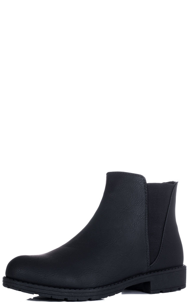 ABYGAIL Flat Chelsea Ankle Boots - Black Leather Style by SpyLoveBuy