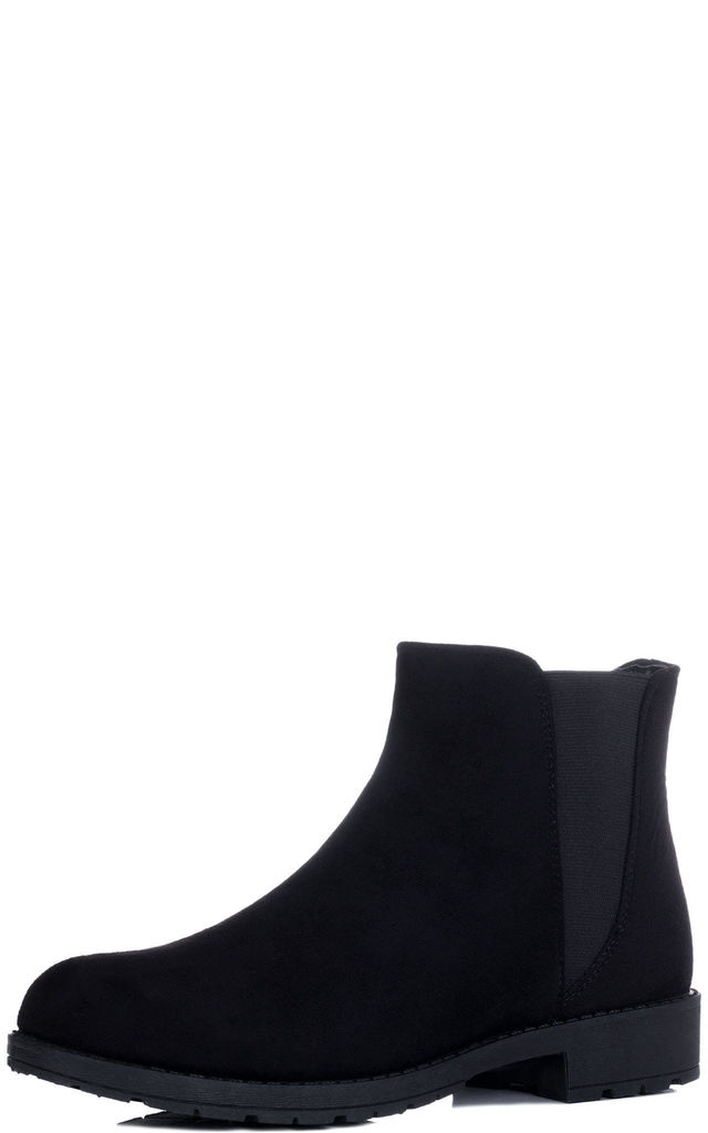 ABYGAIL Flat Chelsea Ankle Boots - Black Suede Style by SpyLoveBuy