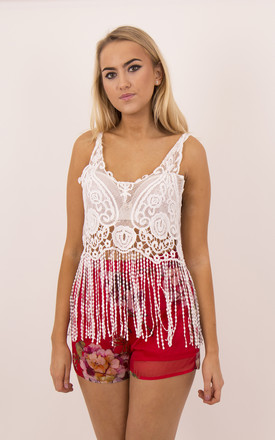 Floral Tassel Strappy Crop Top In White by MISSTRUTH Product photo