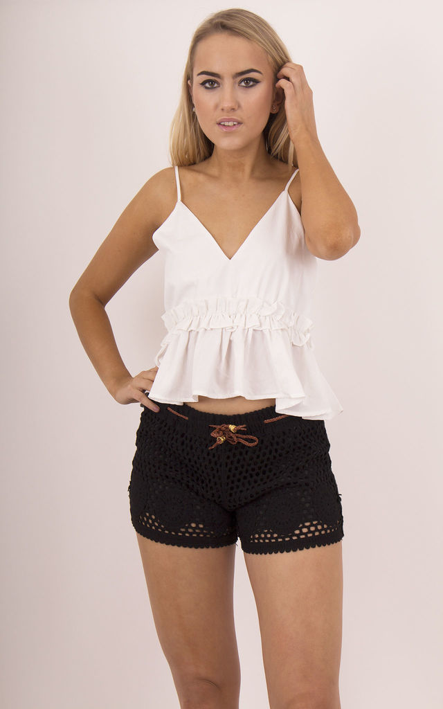 Black Crochet Shorts With Belt by MISSTRUTH