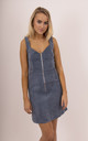 Blue Corduroy Zip Up Front Sleeveless Dress by MISSTRUTH