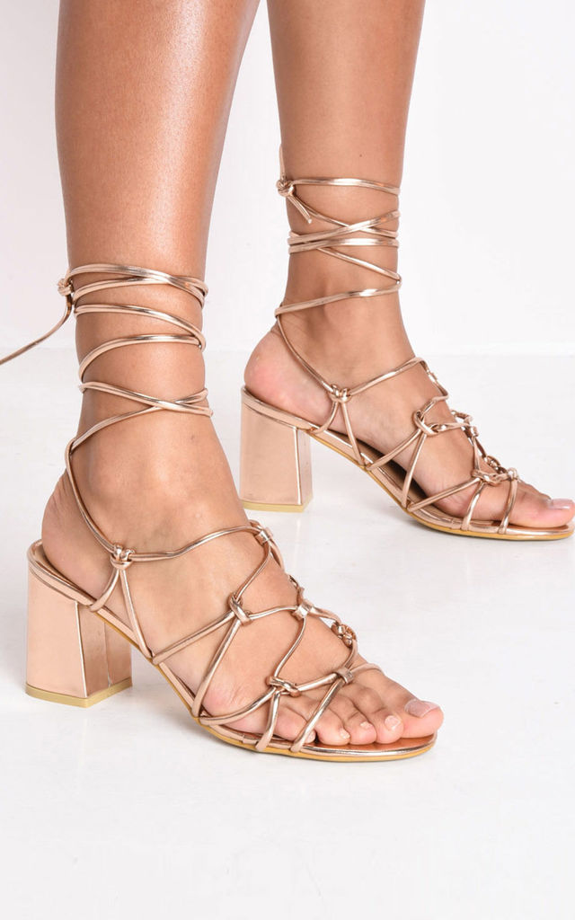 f5a9e3a68c25 Knotted strappy block heel lace up sandals rose gold by LILY LULU FASHION