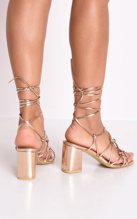 Knotted strappy block heel lace up sandals rose gold by LILY LULU FASHION