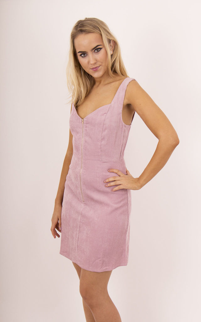 Pink Corduroy Zip Up Front Sleeveless Dress by MISSTRUTH