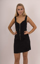 Black Corduroy Zip Up Front Sleeveless Dress by MISSTRUTH