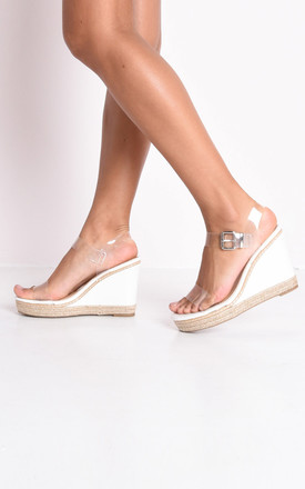 Perspex platform espadrille sandals white by LILY LULU FASHION