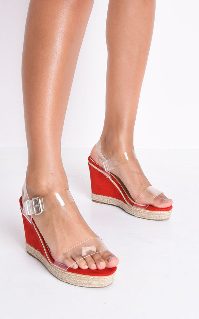 Perspex platform espadrille sandals red by LILY LULU FASHION