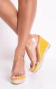 Perspex platform espadrille sandals bright yellow by LILY LULU FASHION