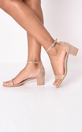 Faux suede block heeled sandals beige by LILY LULU FASHION