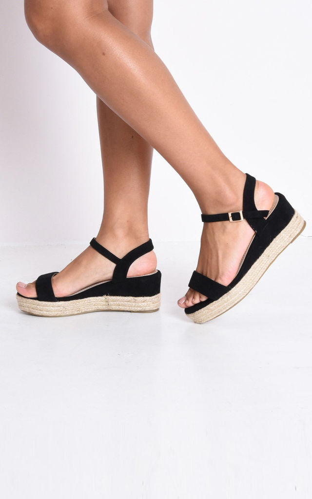 c0dca552dd6 Faux Suede Platform Espadrille Sandals Black by LILY LULU FASHION