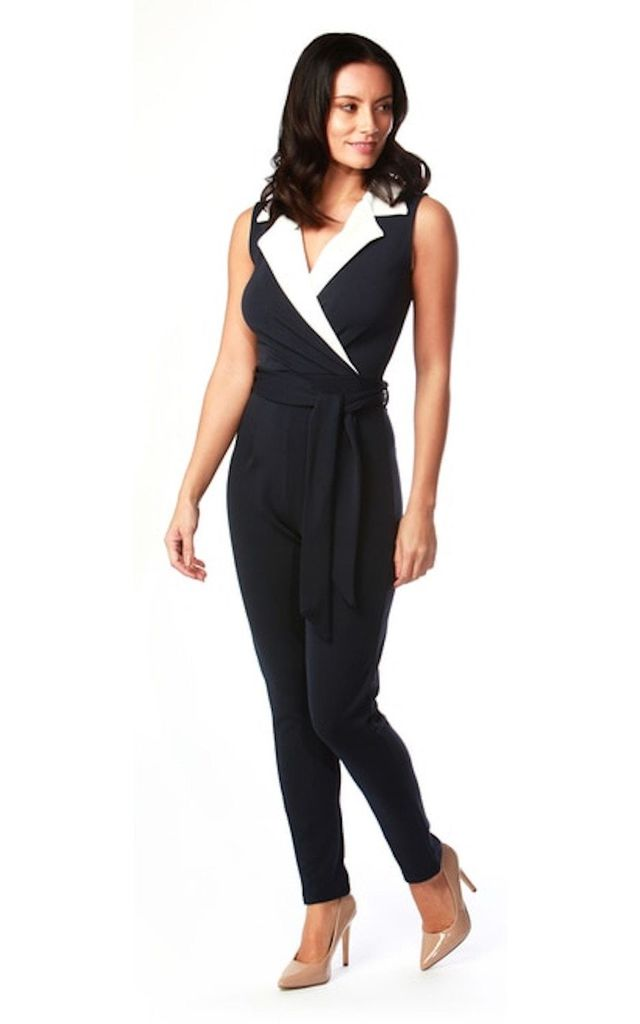 Navy and White Tux Jumpsuit by Want That Trend