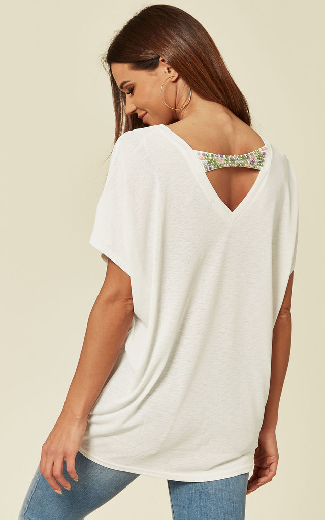 MARIAM - White Batwing Top With Pearl Embellishment by Blue Vanilla
