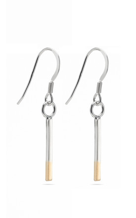 Two Tone Bar Drop Silver Earrings by Oliver Twist Designs