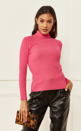 Fuchsia High Neck Fitted Ribbed Jumper by Bella and Blue Product photo