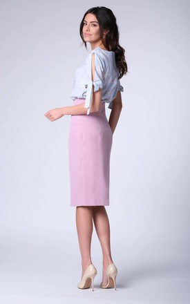 Light Pink High-Waisted Pencil Skirt by Bergamo