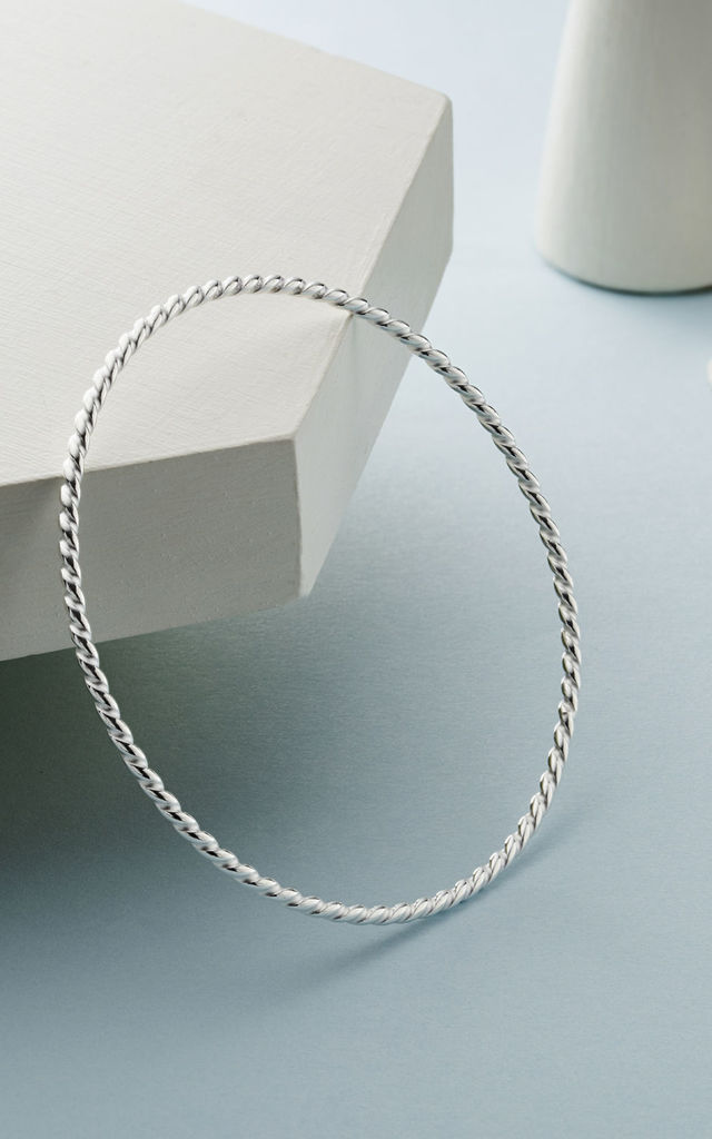Twisted Silver Bangle Bracelet By Oliver Twist Designs