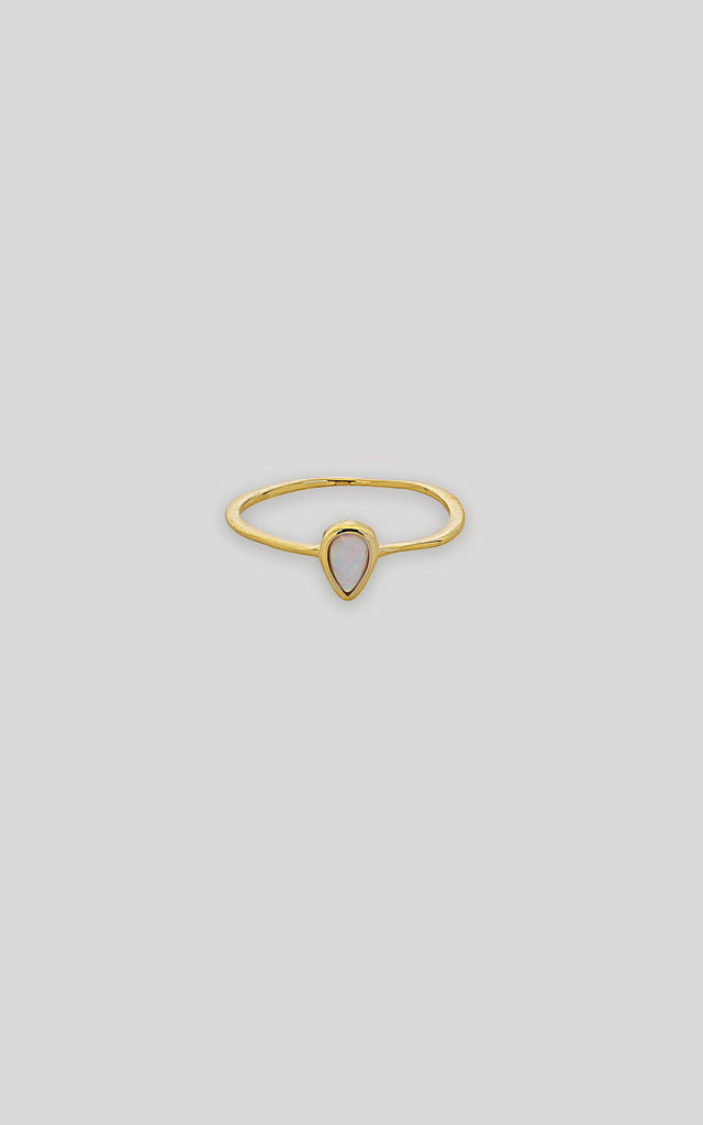 Gold Plated Sterling Silver Ring with Teardrop Opal by Gold Lunar