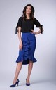Cobalt Blue Frill Midi Skirt by Bergamo