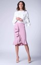Light Pink Frill Midi Skirt by Bergamo