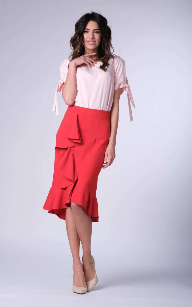 16add0f64 Red Frill Midi Skirt | Bergamo | SilkFred