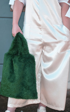 'Into the woods' green faux fur tote bag by Harriet Law Design