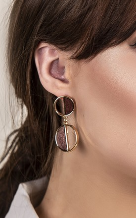 Wooden Circle Festival Drop Earrings by Xander Kostroma