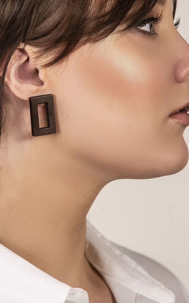 Oblong Wooden Festival Earrings by Xander Kostroma