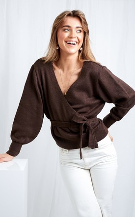 Beau Wrap Cardigan - Brown by Pretty Lavish