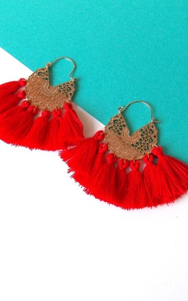 Boho Tassel Hoop Earrings In Red And Gold by Olivia Divine Jewellery Product photo
