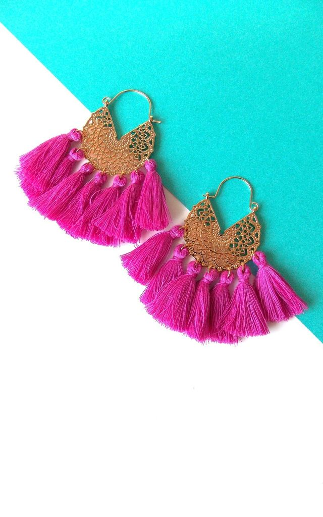 Boho Tassel Hoop Earrings in Pink and Gold by Olivia Divine Jewellery