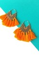 Boho Tassel Hoop Earrings in Tangerine Orange and Gold by Olivia Divine Jewellery