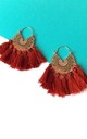 Boho Tassel Hoop Earrings in Rust Red and Gold by Olivia Divine Jewellery