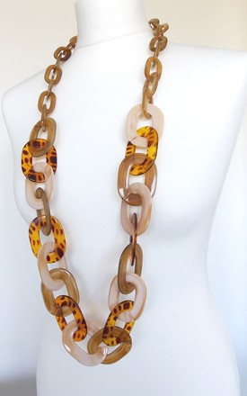 Chunky Tan And Leopard Print Acrylic Long Chain Necklace by Olivia Divine Jewellery Product photo
