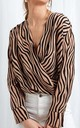Harper Wrap Blouse - Zebra by Pretty Lavish