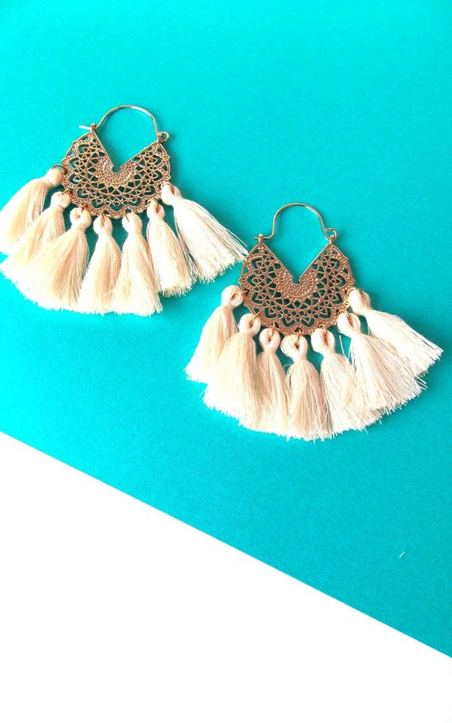 Boho Tassel Hoop Earrings in Cream and Gold by Olivia Divine Jewellery