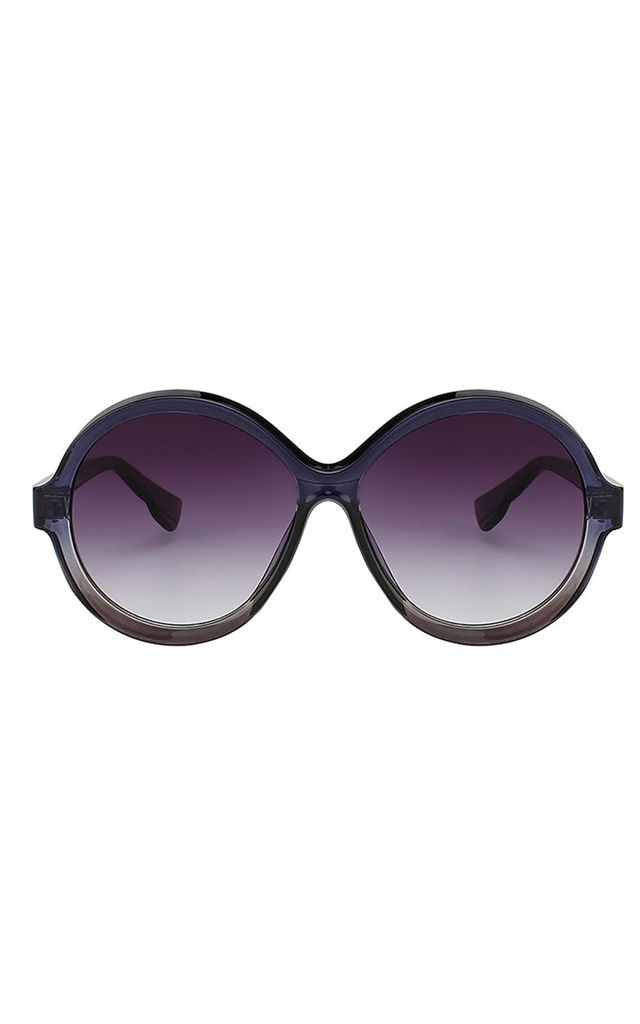 Navy/Grey Retro Vintage Round Plastic Tinted Lens Sunglasses by Urban Mist