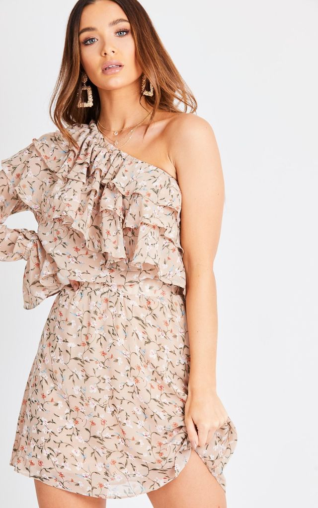 Floral Ruffle One Shoulder Co Ord Set by London End