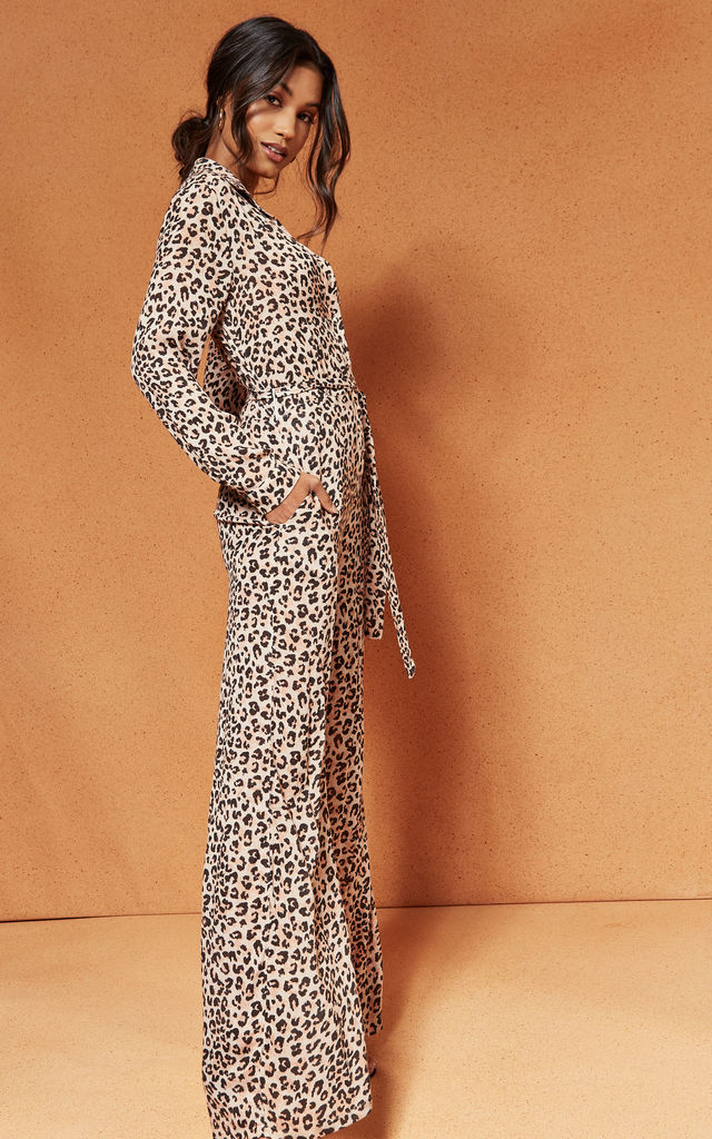 Leopard Print Shirt Style Jumpsuit by Charlie Holiday