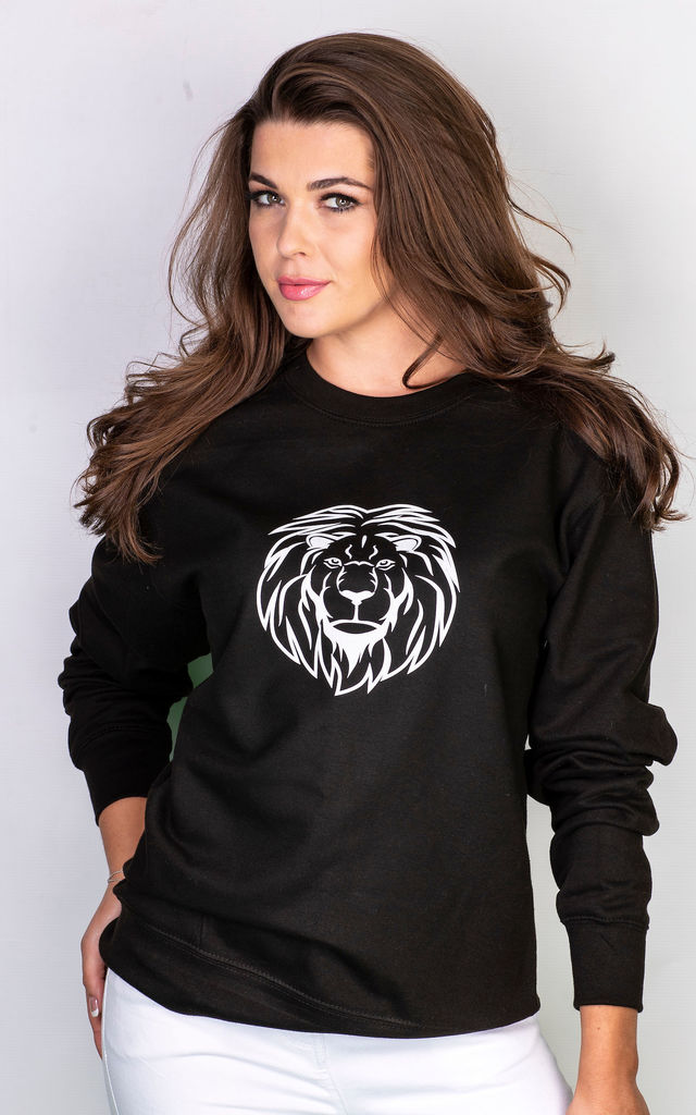 Lion Head graphic jumper in black with white print by GET IT GRL