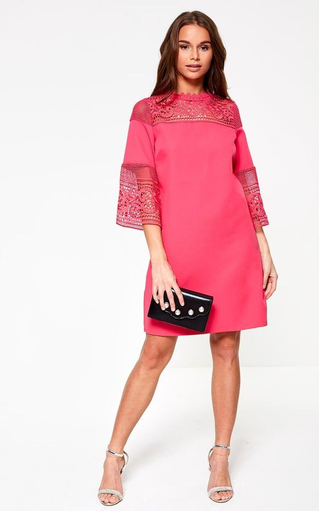 Lace Sleeve Dress in Cerise by Marc Angelo