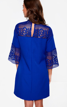 Lace Sleeve Dress in Royal Blue by Marc Angelo