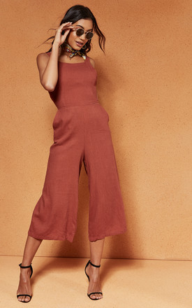 Desert Red Sweet Escape Tie Back Jumpsuit by Charlie Holiday