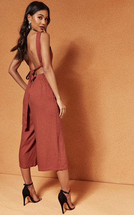 Desert Red Sweet Escape Tie Back Jumpsuit by Charlie Holiday Product photo