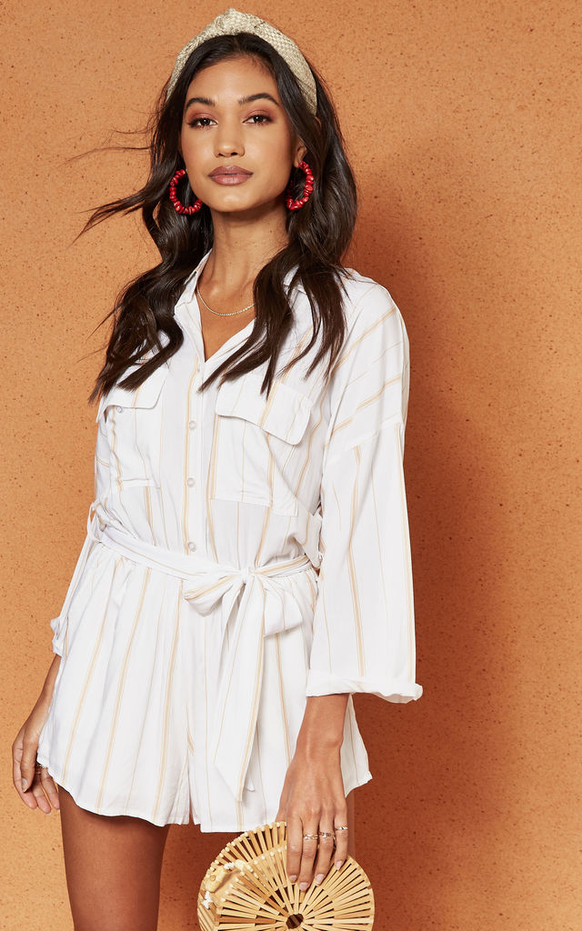 White Stripe Expedition Shirt Style Playsuit by Charlie Holiday